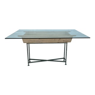 Glass Top Grain Bin Dining Table For Sale