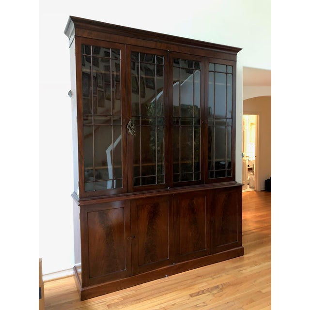 Brown George III Style Mahogany Bookcase Cabinet For Sale - Image 8 of 13