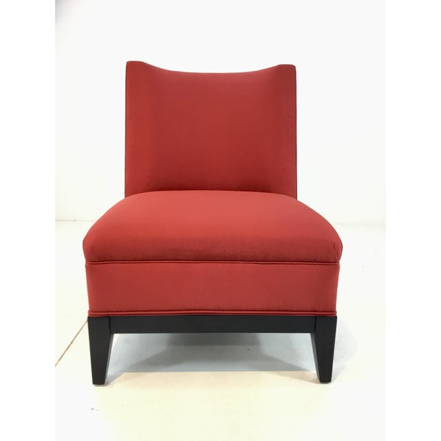 Modern Drexel Heritage Modern Rachelle Red Satin Chairs Pair For Sale - Image 3 of 7