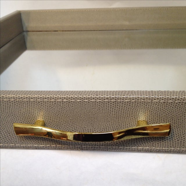 Large Shagreen-Texture Mirrored Tray - Image 6 of 7