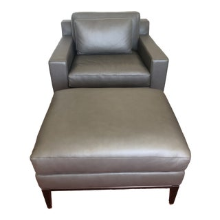 Italia Track Arm Leather Chair and Ottoman For Sale