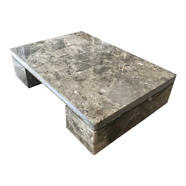Large Marble Coffee Table by Brueton For Sale