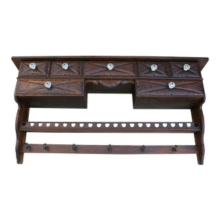 Antique English Oak Wall Cabinet Medicine Spice Rack For Sale