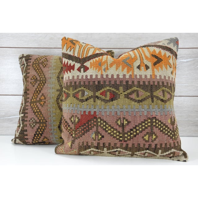 Turkish Tribal Hand-Knotted Vintage Kilim Cushion Cover - Pair - Image 2 of 5