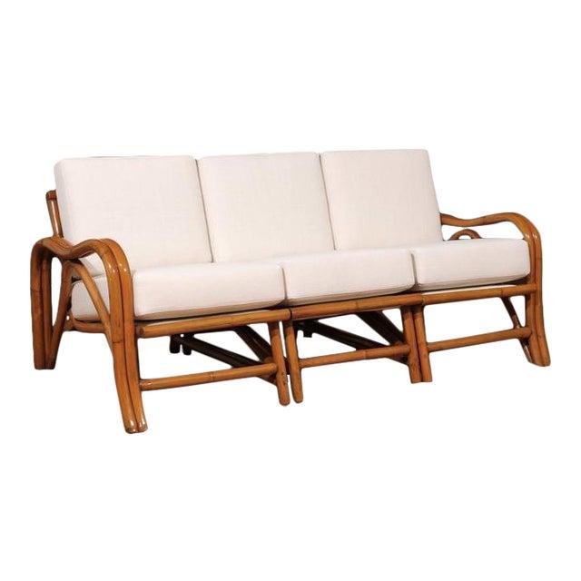 Fantastic Restored Vintage Modern Rattan Three-Seat Sofa For Sale
