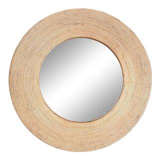 Kalalou Round Koa Rattan Wrapped Mirror For Sale