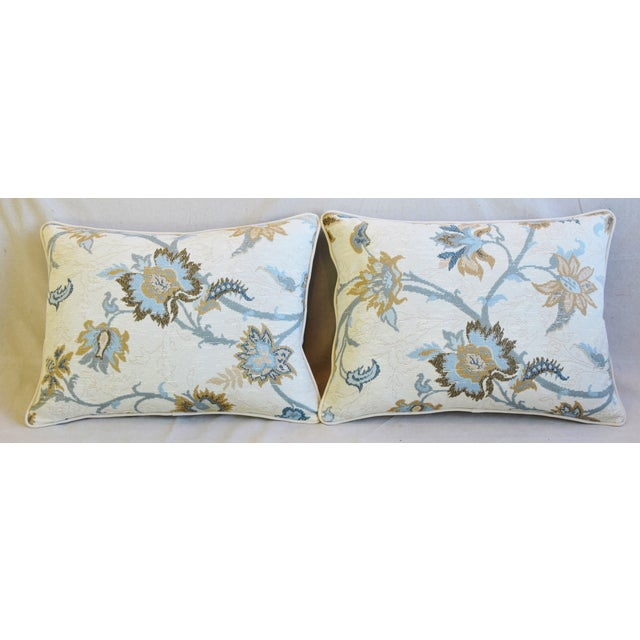 Pair of custom-tailored pillows in Italian floral print linen-and-cotton fabric. Bone-white cotton velvet fabric backs....
