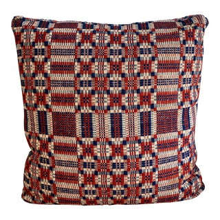 Antique Plaid Coverlet Throw Pillow For Sale