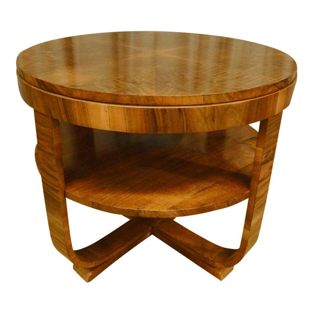 Art Deco Walnut Round Side Table For Sale