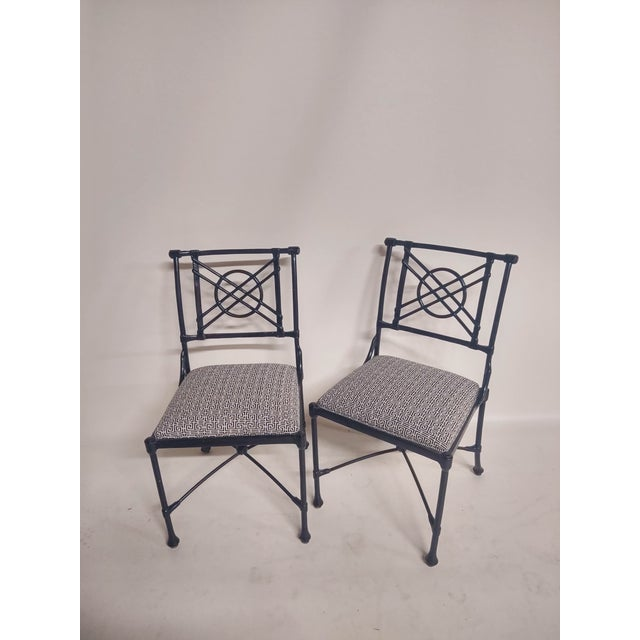 American 1960s Vintage Black Patio Chairs in Decorator Fabric - Set of 6 For Sale - Image 3 of 10