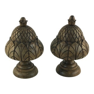 Michael Bell Chicago Carved Walnut Wood Acorn Finials - a Pair For Sale