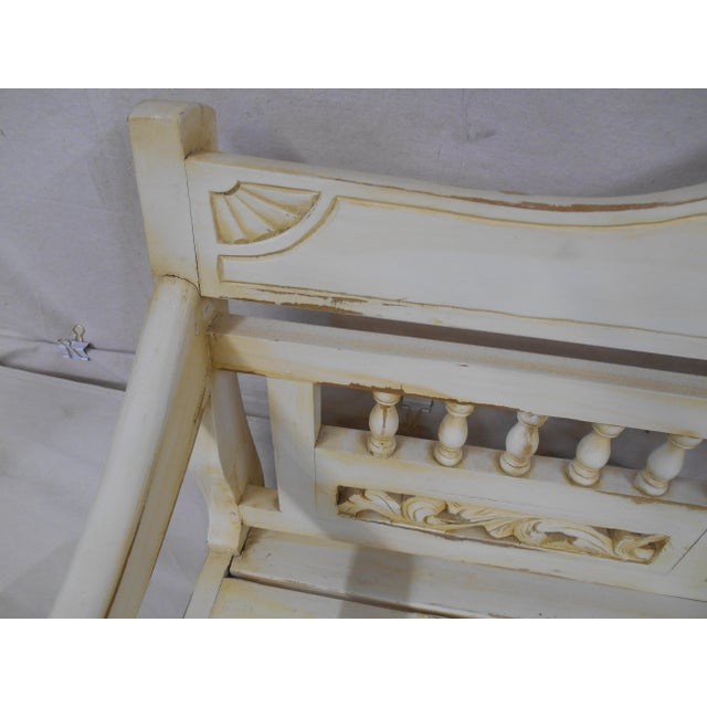 Late 20th Century Painted and Distressed French Country Garden Bench For Sale - Image 6 of 13