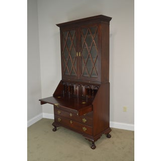 Irion Company Solid Mahogany Chippendale Style Antique Claw Foot Secretary Desk Preview