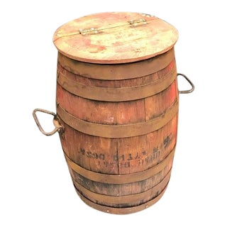Rustic Wooden Hinge-Top Bucket With Handles For Sale