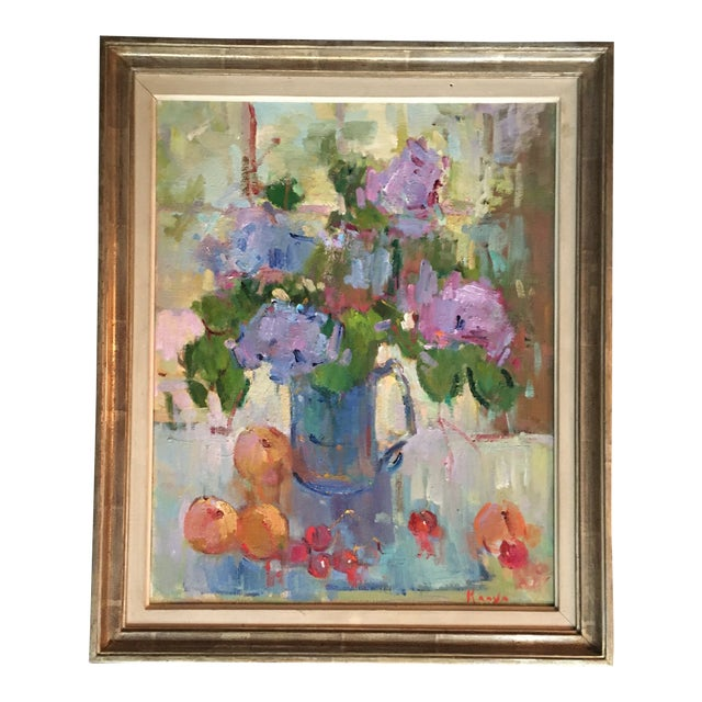 """""""Lilacs in a Blue Jug"""" Painting by Kanya Bugreyev For Sale"""