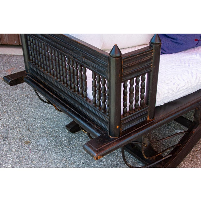 19th Century Vintage Regal Burmese Carved Settee For Sale - Image 5 of 11