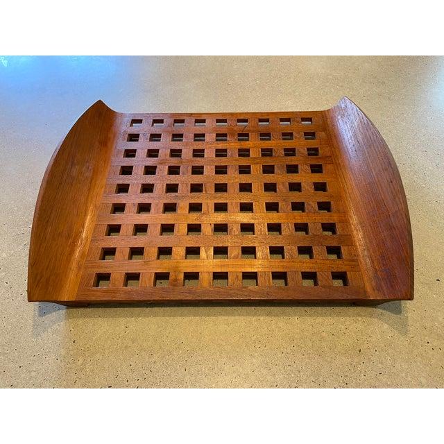 Danish modern barware/decor classic! Jens Quistgaard for Dansk lattice tray in teak.