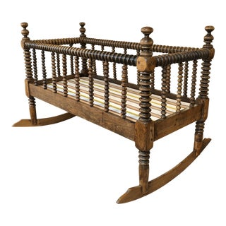 Antique Turned Spindle Rocking Cradle