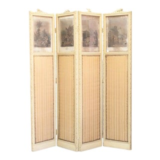 1700s French Painted Carved Four Panel Folding Screen with Four Engraved Prints For Sale