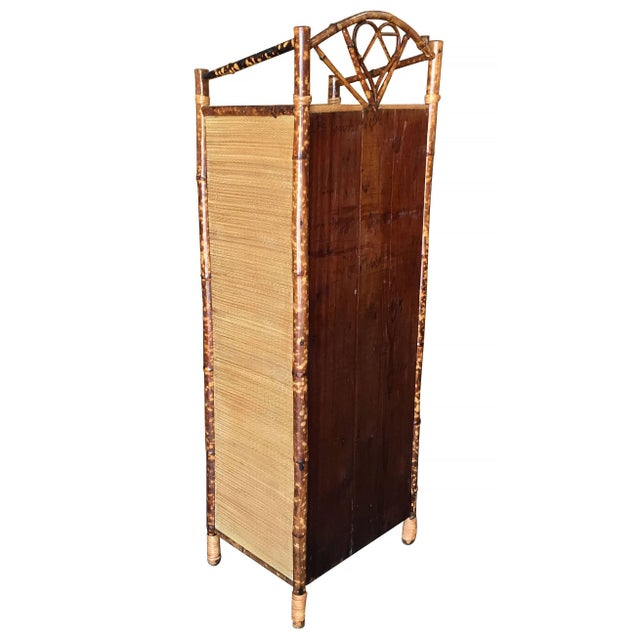 Bamboo Restored Aesthetic Movement Tiger Bamboo Linen Cabinet With Rice Mat Covering For Sale - Image 7 of 8