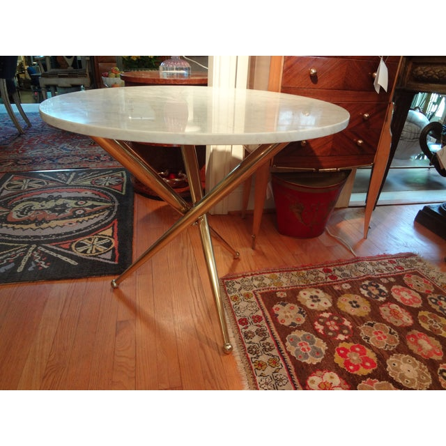 Italian Gio Ponti Inspired Brass and Marble Table - Image 2 of 8