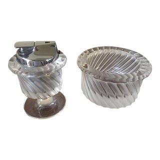 20th Century Lalique Crystal Smyrne Ashtry and Lighter Holder Set - 2 Pieces For Sale