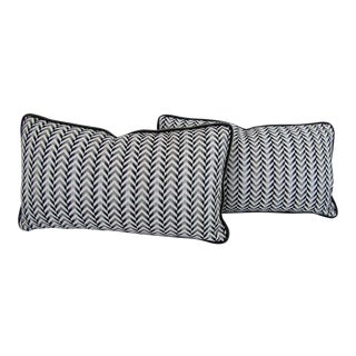 Charcoal Chevron Print Reversible Lumbar Pillows - A Pair For Sale
