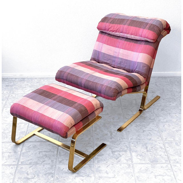 Postmodern Brass Lounge Chair With Ottoman by Dansen For Sale - Image 9 of 10
