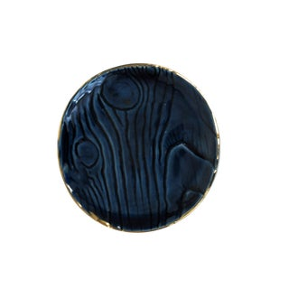 Navy Blue Ring Dish With Gold Trim