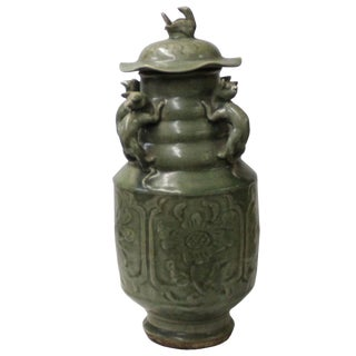 Chinese Ancient Style Green Gray Ceremonial Jar With Relief Dragon Motif For Sale