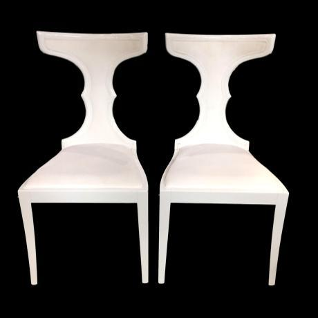 Art Deco White Acrylic & Italian Upholstery Side Chairs - a Pair For Sale In Miami - Image 6 of 6