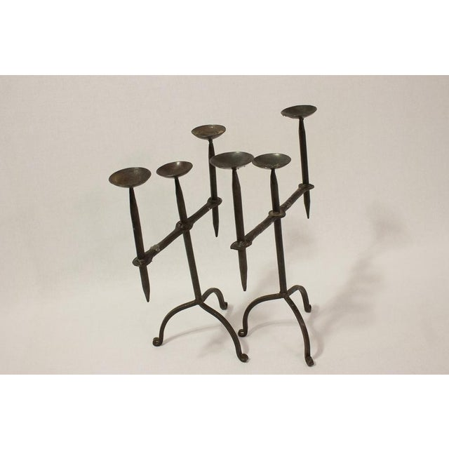 Hand Forged Iron Metal Candleholders- A Pair - Image 5 of 6