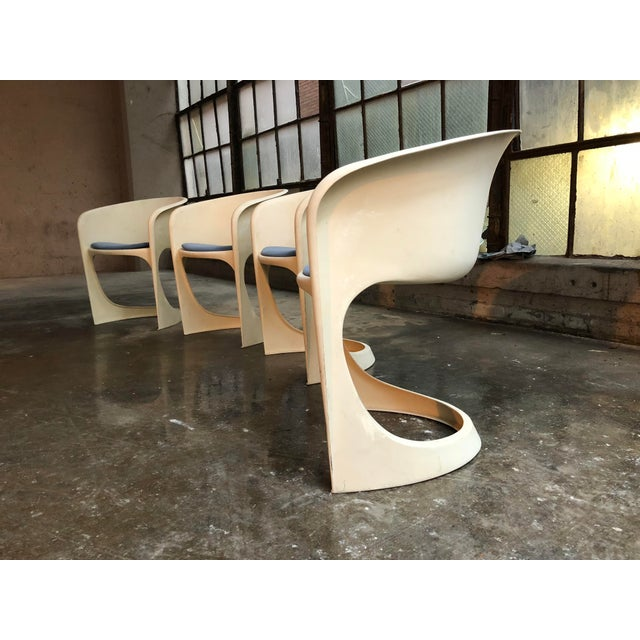 Fabric Cado by Steen Ostergaard Mid Century Danish Modern Molded Plastic Stacking Dining Chairs - Set of 4 For Sale - Image 7 of 7