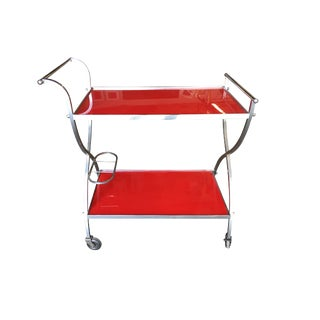 1960s Mid-Century Modern Chromed Aluminum with Red Lucite Bar Cart For Sale