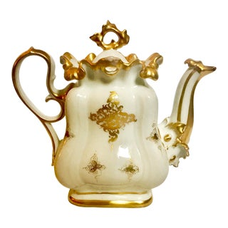 Mid 18th Century Antique Meissen Style Rococo Gold Encrusted Teapot For Sale