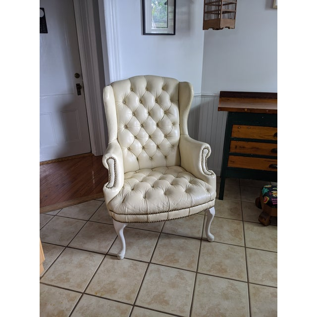 Mid-Century Chesterfield Tufted White Leather Wingback Chair For Sale - Image 9 of 9