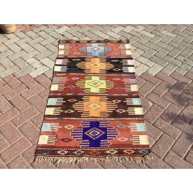 "Boho Chic Vintage Turkish Kilim Rug - 2'9"" x 4'10"" For Sale - Image 3 of 10"