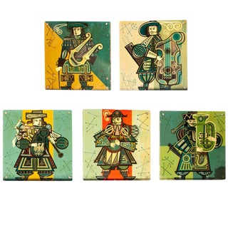 1960s Vintage French Musicians Panels- Set of 5 For Sale