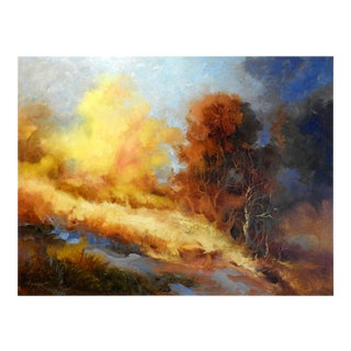 """""""Trees on Hillside"""" Landscape Oil Painting, Expressionism For Sale"""