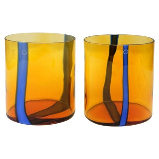 V. Nason & C., Italy Amber and Blue Murano Glass Vase Set For Sale