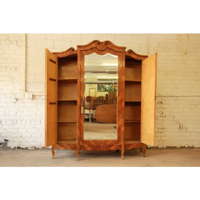1870's Burled and Inlaid French Knockdown Wardrobe - Image 4 of 11
