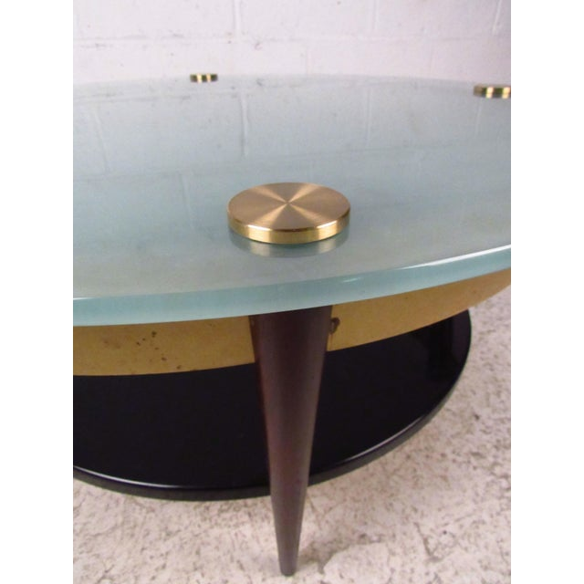 Mid-Century Floating-Top Glass & Brass Coffee Table - Image 7 of 9