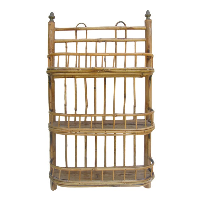 Boho Chic Bamboo / Rattan Wall Shelf For Sale