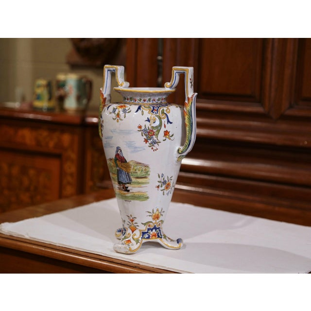 19th Century French Hand-Painted Ceramic Vase With Handles From Rouen Normandy For Sale In Dallas - Image 6 of 11