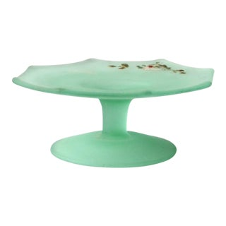 Vintage Frosted Green Glass Pedestal Dish