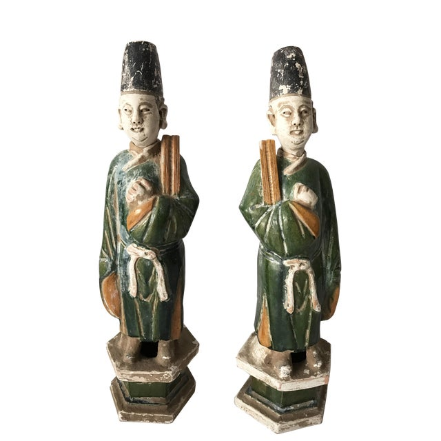 Chinese Ming Dynasty Glazed Pottery Tomb Figures - A Pair - Image 1 of 6