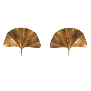 Large brass Gingko mid century modern pair of sconces by Tommaso Barbi