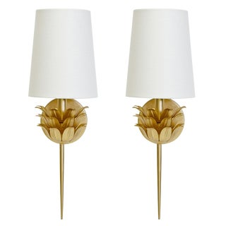 Worlds Away Delilah Gold Flower Sconce Wall Lights – A Pair