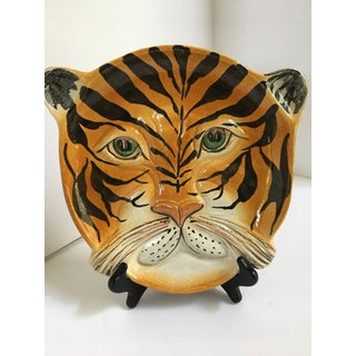 Mid Century Italian Hand Painted Striped Tiger Platter Preview