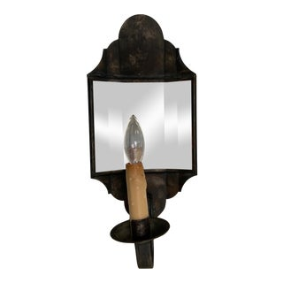 Scofield Aged Tin Carpenter Hall Mirrored Sconce For Sale